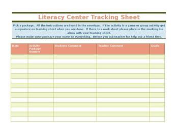 Literacy center tracking sheet