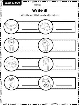 Literacy centers: Short Vowels