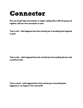 Literacy circle support sheets