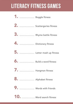 Literacy fitness activities and games