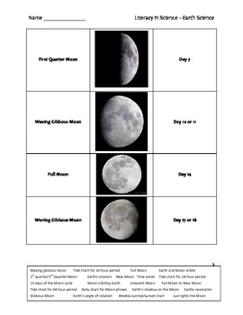 Elementary Literacy in Science Worksheet - Phases of the Moon