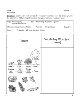 Middle School Science and Literacy Vocabulary Worksheet - Plants