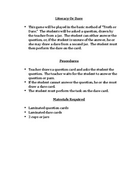 Literacy Or Dare Game By Ela Resources 5 8 Teachers Pay Teachers