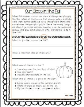 Literacy skills fall worksheet
