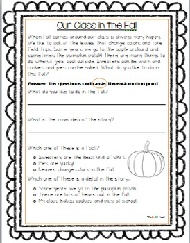 Literacy skills fall worksheet