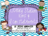 "Literacy station icons and ""I can"" statements"