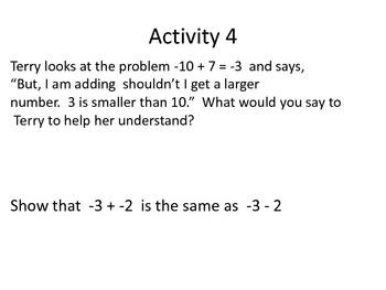 Literacy to teach integer operations