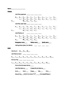 Literacy/Math Assessment