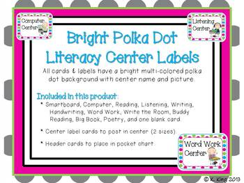 Literacy/Reading Center Labels - Bright Polka Dot