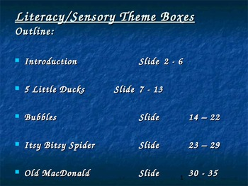 Literacy/Sensory Theme Boxes - Training/Presentation