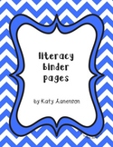 Literacy/Writing Binder Pages