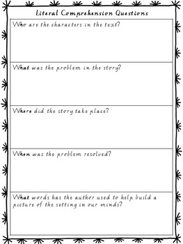 Literal Comprehension Questions Organiser