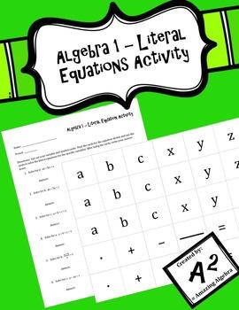 Algebra 1 - Literal Equation Activity