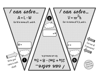 Literal Equation Pennant Activity! Set of 3 Pennants!