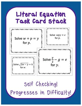 Literal Equation Task Card Question Stack