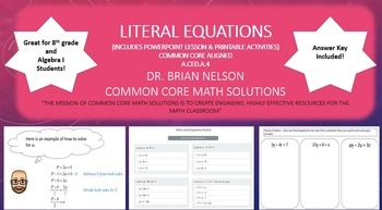 Literal Equations - A PowerPoint Lesson and Printables!