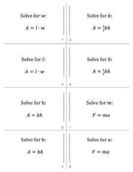 Solving Literal Equations Activity (TEKS A12E)
