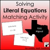Literal Equations Activity (A12E)