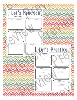 Literal Equations: Activity Guide, Exit Ticket, Homework