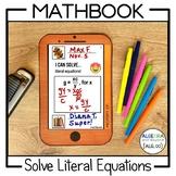 Literal Equations Activity   Mathbook