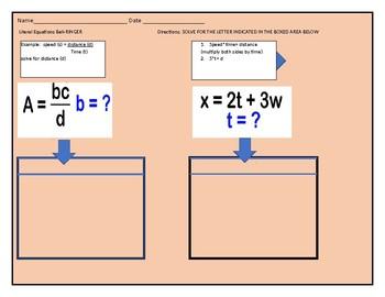 Literal Equations Bell-ringer