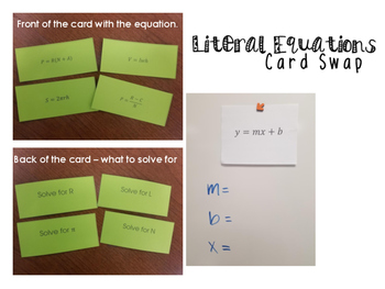 Literal Equations Card Swap