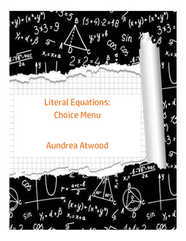 Literal Equations: Choice Menu