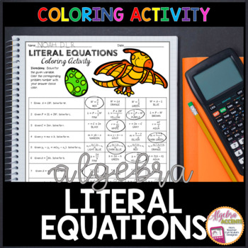 Writing Literal Equations Coloring Activity