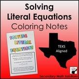 Literal Equations Notes (A12E)