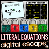 Literal Equations Digital Math Escape Room