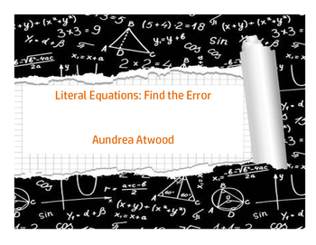 Literal Equations: Find the Error