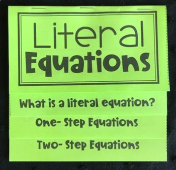 Literal Equations (Foldable)