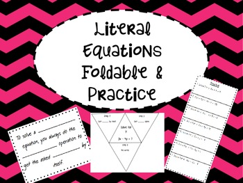 Literal Equations Foldable and Practice for Interactive Notebook