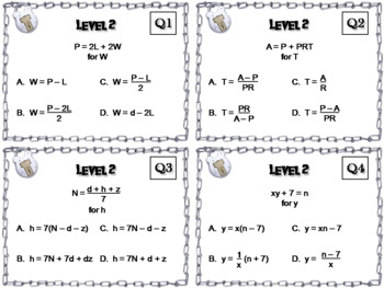Literal Equations Game: Escape Room Math