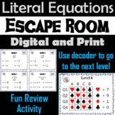 Literal Equations Game: Algebra Escape Room Math