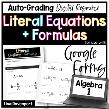 Literal Equations (Google Forms/ Quizzes)