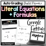 Literal Equations- Digital Assignment for use with Google Forms