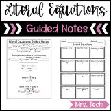 Literal Equations Guided Notes
