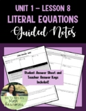 Literal Equations - Guided Notes (Algebra 1)