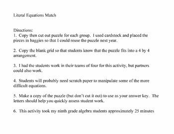 Literal Equations Match