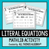 Literal Equations Math Lib