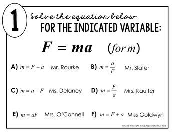 Literal Equations Math Lib