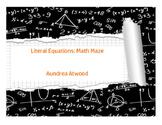 Literal Equations: Math Maze