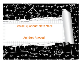 Literal Equations: Math Maze