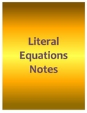 Literal Equations Notes