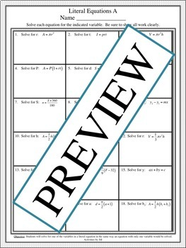 Literal Equations Notes Practice By Activities By Jill Tpt