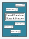 Literal Equations Notes & Practice (Distance Learning)