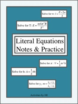 Literal Equations Notes & Practice