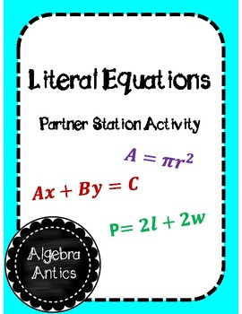 Literal Equations Partner Stations