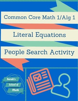 Literal Equations-People Search Activity